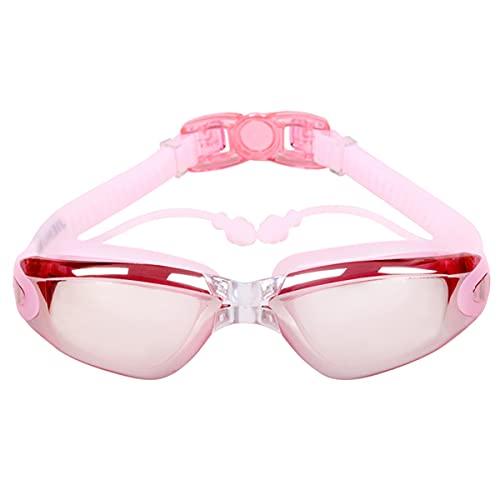 LIMESI Polarizada Gafas de Natación con Tapones para los Oídos, Anti Niebla Protección UV sin Fugas Vista Amplia Gafas para Nadar Ajustables para Adultos y Adolescentes-Pink