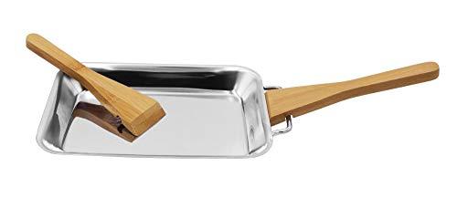 Steuber Premium Line 2er Set Edelstahl Grillpfännchen mit 4 Holzschaber, 18 x 12,5 x 2 cm, Ersatz für Aluminium Grill Schalen, Grill Raclette