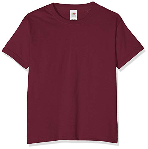 Fruit of the Loom T-Shirt Bambino, Rosso (Burgunderrot), 9-11 Anni (Manufacturer Size:32)