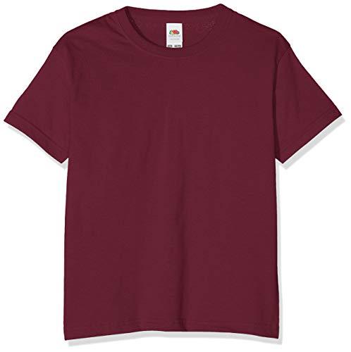 Camiseta de manga corta para niños, de la marca Fruit of the Loom, Unisex granate 12 años