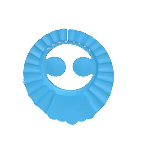 【BEAUTY PLAYER】シャンプーハット 子供用 大人 シャワーキャップ 6段階 サイズ 調整可能 耳付き シャンプーハット 耳あて シャンプーキャップ お風呂 目を保護 バスグッズ 洗髪用帽子 お風呂 樹脂 防水帽(ブルー)