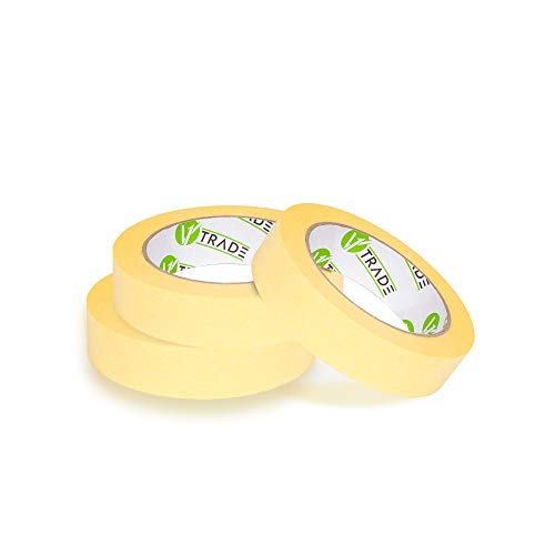 V1 Trade - Cinta Carrocero Amarillo - Pintor - Pintura - Masking Tape - 25 mm x 50 m (25 mm x 50 m (3 Stück))