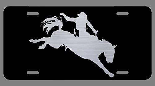 Vincit Veritas Rodeo Black Etched License Plate   Premium Quality   12-Inch by 6-Inch   LP016