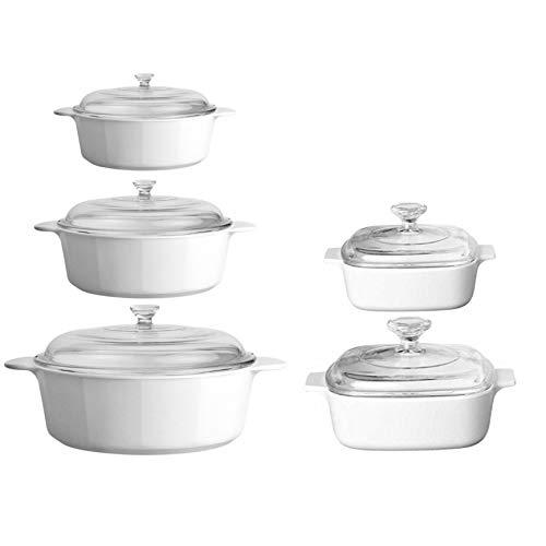CorningWare 10 Piece Pyroceram Classic Round Casseroles (3.5 qt, 2.5 qt & 1.3 qt) Square (2 qt & 1 qt) Cooking Pots W/Handles & Glass Lid - White