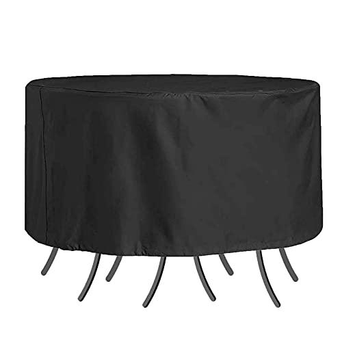WZDD 260x90cm Funda para Muebles De Jardin Impermeable, Funda Protectora Muebles Exterior, Cubierta De Muebles De Patio Redonda, Cubierta De Mesa Al Aire Libre