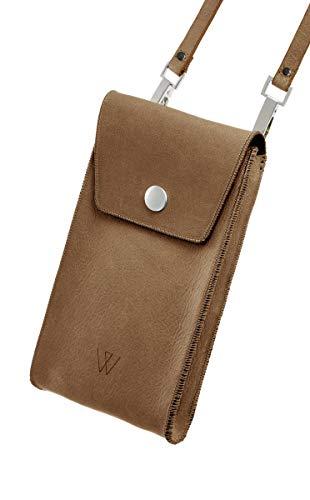 Schoudertas voor mobiele telefoon met veel vakken en ruimte, van leer, premium leer kleur cognac, geschikt voor iPhone, Samsung Galaxy, LG, Huawei
