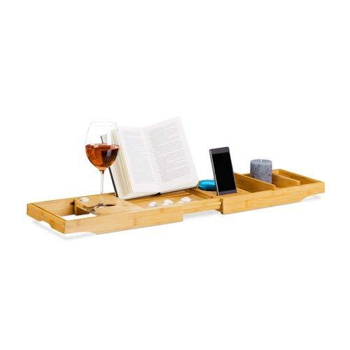 Relaxdays uittrekbaar badrek, bamboe badbrug met boekensteun, badkuipplank met wijnglas-houder, naturel