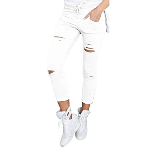Coolster Damen Dünn Ripped Hoch Taille Strecken Bleistift Hose (Size S, Weiß)