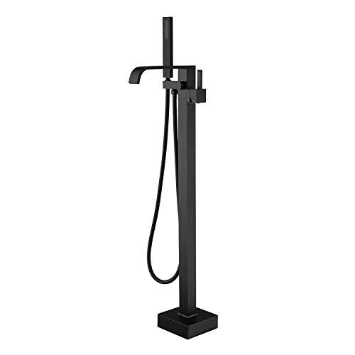 Artiqua Freestanding Bathtub Faucet Tub Filler Black Floor Mount Bathroom Faucets Brass Single...