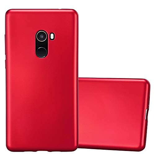 Cadorabo Funda para Xiaomi Mi Mix 2 en Metallic Rojo - Cubierta Proteccíon de Silicona TPU Delgada e Flexible con Antichoque - Gel Case Cover Carcasa Ligera