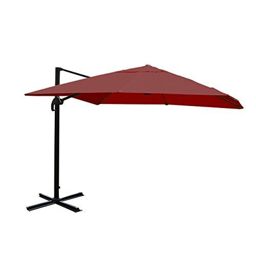 Mendler Gastronomie-Ampelschirm HWC-A96, Sonnenschirm 3x3m (Ø4,24m) Polyester Alu/Stahl 23kg - Bordeaux ohne Ständer, drehbar