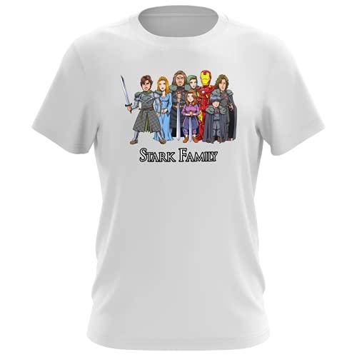 Maglietta Bianca da uomo parodia Iron Man - Il Trono di Spade - Eddard, Catelyn, Robb, Sansa, Arya, Brian, Rickon e Tony Stark - (T-shirt di qualità premium in taglia XXS - Stampata in Francia