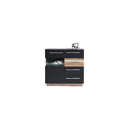 Furniture24 Kommode Monsun MN6 Sideborad Highboard 1 Türiger mit 4 Schubladen Wohnzimerschrank (Nußbaum Baltimore/Schwarz Matt)