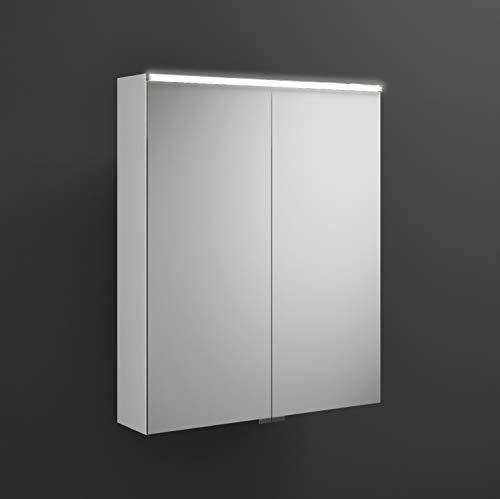 Burgbad Eqio Spiegelschrank mit Horizontaler LED-Beleuchtung SPGS065, Breite: 650mm, Korpus: Weiß Hochglanz - SPGS065F2009