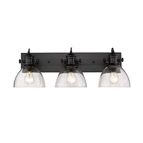 Golden Lighting 3118-BA3 BLK-SD Hines Vanity Light, Black with Seeded Glass