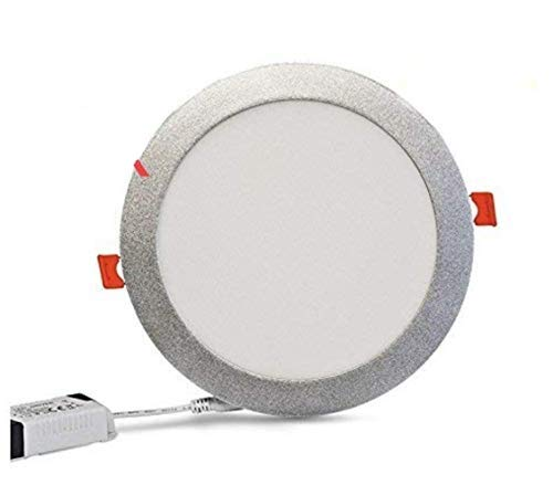 Pack 5x Panel LED redondo, 18W Marco Plata. Color Blanco Frío (6500K). 1600 lumenes. A++