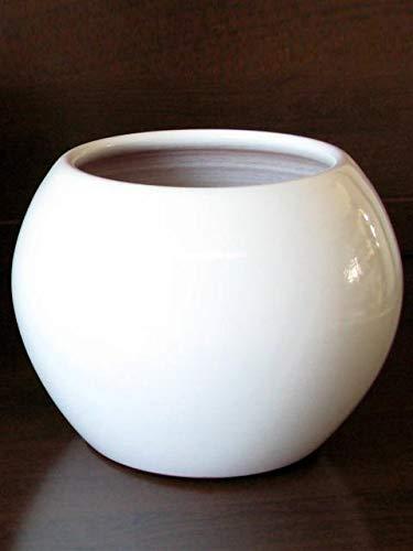 POLONIO Macetero de Ceramica Blanco de 30 cm. para Jardin - Jardinera de Ceramica Blanco - Macetero de Ceramica Grande Blanco