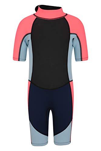 Mountain Warehouse Junior kurzer Kinder-Neoprenanzug -Körper: 2.5mm, Sommer-Nasstaucheranzug, Leichtlauf-Reißverschluss, Flachnähte, Verstellbarer Nacken Fuchsia 11-12 Jahre