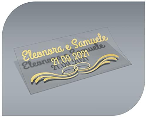 Pegatinas Personalizadas Transparentes con Nombre y Fecha, Etiquetas Adhesivas para Invitacion Boda, Bautizo, Compromiso, Comunion, Cumpleaños, Fiesta, Vintage, Sellos (Modelo 8)