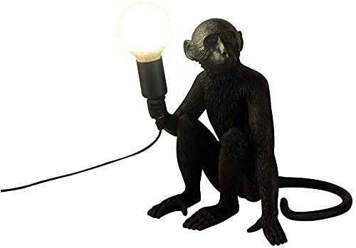 Lampara del Mono del Estilo Industrial del Vintage, Lámpara Creativa de la Resina de la Personalidad del Arte, E27 (Negro - Postura Sentada Lámpara) [Clase de Eficiencia Energética A]