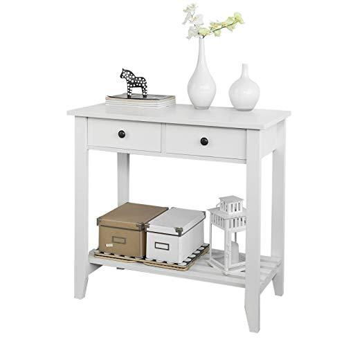 SoBuy® FSB04-W Table Console 2 tiroirs et 1 étagère, L85cm x H80cm x P40cm-
