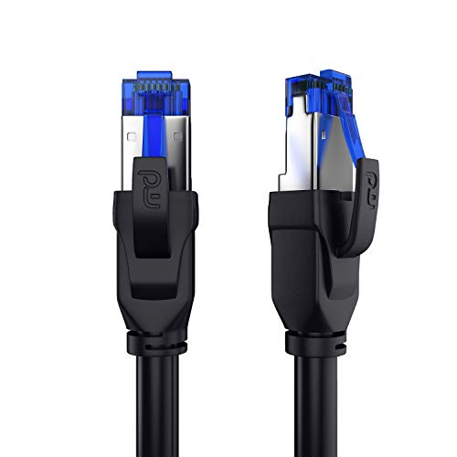 CSL - 1m CAT.8 Netzwerkkabel 40 Gbits - LAN Kabel Patchkabel Datenkabel - CAT 8 High Speed Gigabit Ethernet Cable - 40000 Mbits Glasfaser Geschwindigkeit - S/FTP PIMF Schirmung RJ45 Stecker