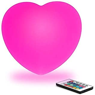 Mr.Go 12-inch Dimmable RGB Color Changing LED Heart Lamp w/Remote Wireless Rechargeable LED Night Light Mood Lighting Lamps for Kids Room Nursery Adult Bedroom Bedside Home Decoration Romantic