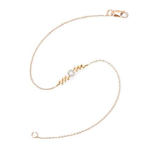 NICOLS 29210224x30 - Pulsera Oro Rosa (18kt) con Palabra Mom y Diamantes