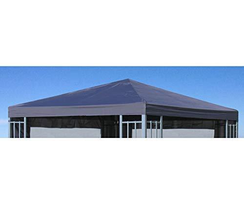 GRASEKAMP Qualität seit 1972 Ersatzdach Aluoptik Pavillon 3x3m Anthrazit Ersatzbezug Ersatzplane Rankpavillon