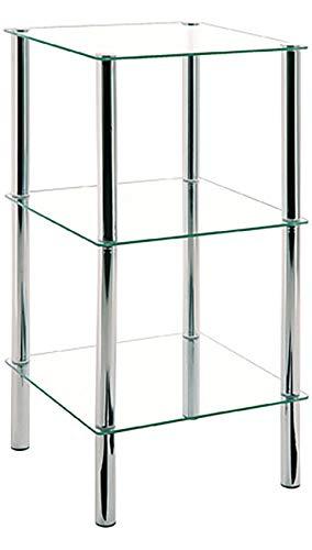Haku Möbel Beistelltisch eckig - verchromtes Stahlrohr 3 Ablagen Sicherheitsglas H 77 cm