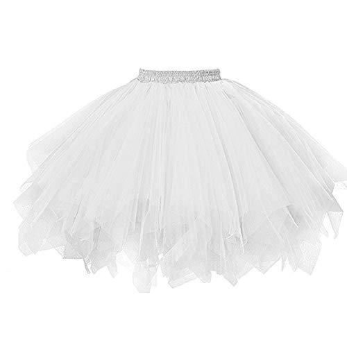 Andouy Damen Tutu Rock Tüll Petticoat Ballett Tanz Organza Geschichteten Blase Kostüm Dress-up Sexy Größe 36-52(42-46,Sahne)