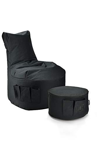Maverick Gaming Set Sitzsack mit Sitzhocker/Fußbank Schwarz mit Keder Farben wählbar Beanbag mit Seitentaschen & Reißverschluss zum nachfüllen Playstation PS4 XBOX360 XboxOne Nintendo (Schwarz)