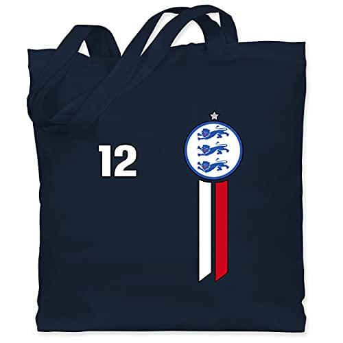 Shirtracer Fussball EM 2021 Fanartikel - 12. Mann England Emblem - Unisize - Navy Blau - Nationalmannschaft - WM101 - Stoffbeutel aus Baumwolle Jutebeutel lange Henkel