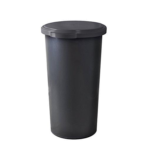KUEFA 60L Müllsackständer mit flachem Deckel - Gelber Sack Mülleimer (Grau)