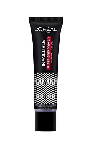 L'Oréal Paris Prebase Alisadora Infalible Super Grip Primer, Larga Duración 24H, Acabado Mate, Pieles Mixtas a Grasas, 20 ml
