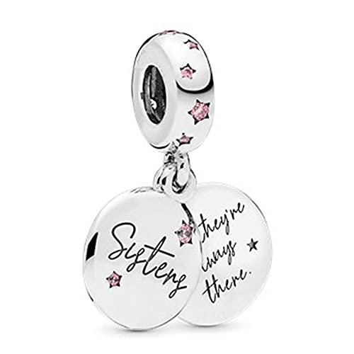 Pandora Fashion 925 Charm Sister Forever Letters Colgante Diy Beads Adecuado Para Pulsera Original Señoras Fabricación De Joyas Regalos