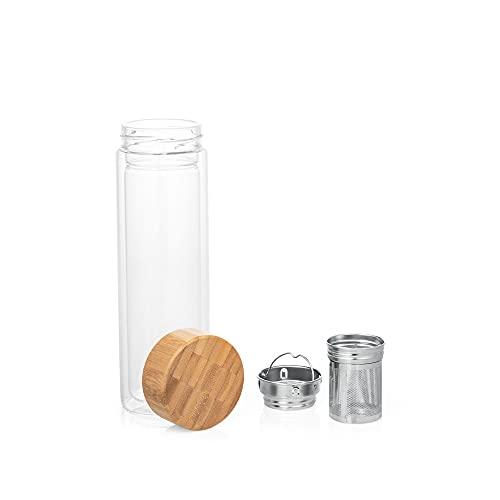 Botella Infusora Aislante   Termo Infusor de Té   Doble Pared de Vidrio Borosilicato y Tapa de Bambú   Dos Difusores de Acero Inoxidable   Capacidad 490 ml.