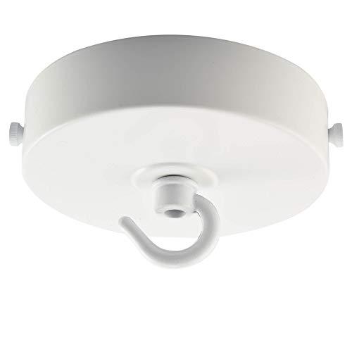 Rosetón de techo ElekTek de 100 mm de diámetro con corte plano, pletina de montaje y gancho. Ideal para instalaciones de iluminación colgadas y candelabros