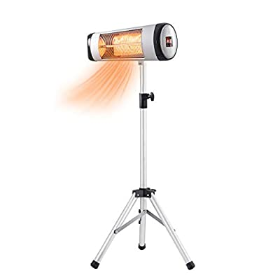 R.W.FLAME Electric Patio Heater Infrared Heater, Adjustable Standing/Outdoor Infrared Heater, Weather & Dust Proof, High Heat Efficiency, Waterproof IP65 Rated, Line Switch Control