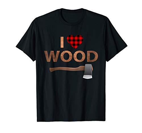 I Love Wood T-Shirt Lumberjack Heart Halloween Party Gift