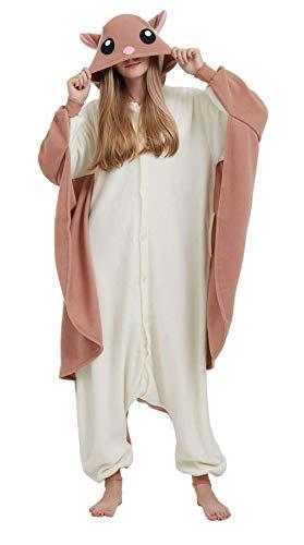 Erwachsene Jumpsuit Onesie Tier Karton Fasching Halloween Kostüm Sleepsuit Cosplay Overall Pyjama Schlafanzug, Fliegendes Eichhörnchen, S