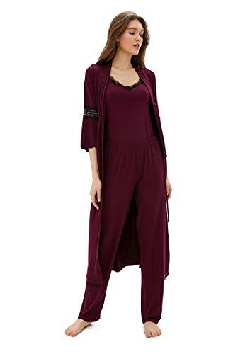 Luisa Moretti 3-delige dames pyjamaset met kant en ochtendjas van bamboevezels bamboe nachthemd groen