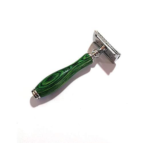 Leeypltm Portable Double tranchant en lames de rasoir,Rasoir de Sûreté,Avec lame。Meilleur cadeau de vacances pour hommes。-Rasoir avec manche en bois vert