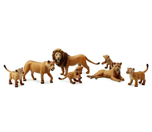 Attatoy Lion Figure Family (7-Piece Set), Pride of Lions Action Toy Figures with King Lion, Lionesses and Cubs