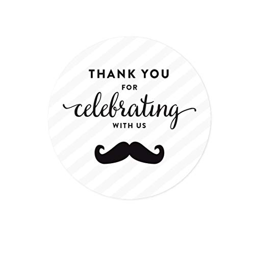 Andaz Press Birthday Round Circle Labels Stickers, Thank You for Celebrating With Us, Mustache Black, 40-Pack, For Gifts and Party Favors