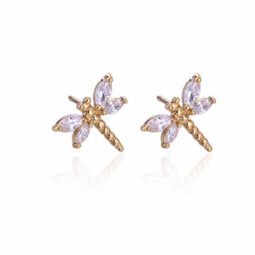 Yazilind elegante 14K Gold Filled Inlay Oval claro cúbicos Circonita libélula Stud Pendientes de Idea regalo de las mujeres