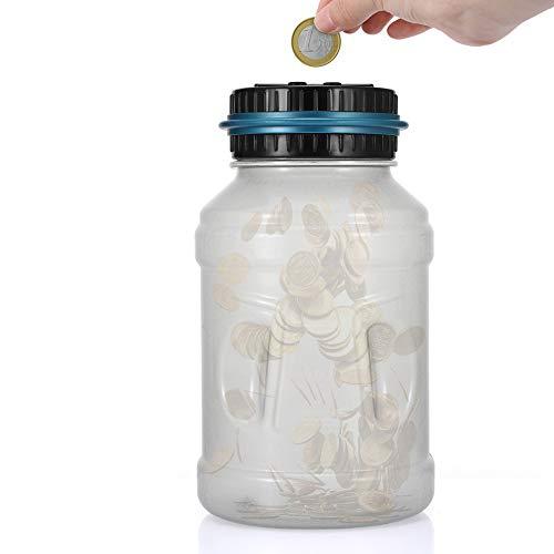Sunsbell Hucha Contador, Caja de Ahorro de Monedas Euro Dinero Moneda Caja de conteo de Gran Capacidad para Pantalla LCD Caja de Monedas Banco de Ahorro Contenedor para niños (2.5L Versión Luminosa)