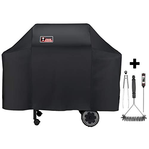 Kingkong 7573/7106 Cover for Weber Spirit 200, 300 Series and Genesis Silver Gas Grill Brush, Tongs and Thermometer