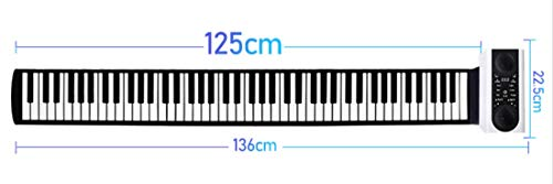 Knoijijuo Elektro-Roll-Up-Piano, tragbare Faltbare 88 Tasten Flexible Soft-Silikon Elektronische Musik-Keyboard, USB mit Louder-Lautsprecher