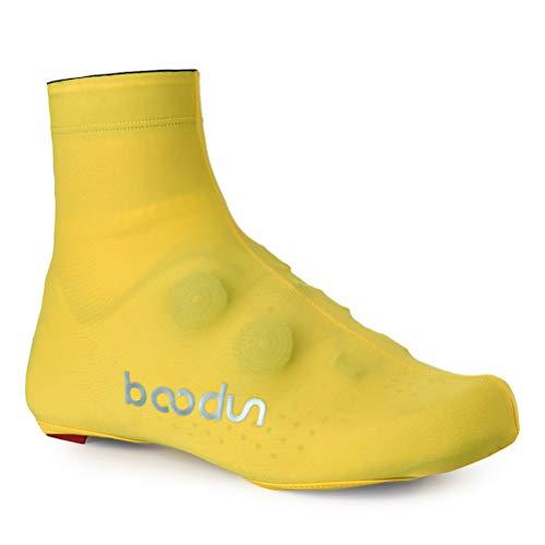LBCD Cubrezapatos para bicicleta de carretera, impermeables, a prueba de polvo, color negro, cremallera trasera, reflectante, secado rápido y transpirable, para hombres y mujeres, amarillo, XL
